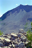 Frank Slide Disaster Alberta Canada. Site of the Frank slide. In 1903 the top of Turtle Mountain slid down and covered the minng town of Frank Alberta, killing royalty free stock photos