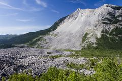 Frank Slide Mountain Landslide Alberta. The Frank Slide was a rockslide that buried part of the mining town of Frank, Alberta, Canada at 4:10 am on April 29 Stock Image