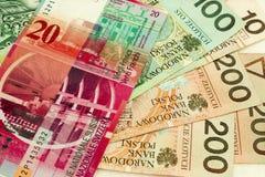 Frank- und Einzlotymünzen Lizenzfreie Stockbilder