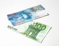 Frank vers le haut d'euro vers le bas photographie stock libre de droits