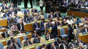 Frank Walter Steinmeier na assembleia geral de United Nations filme