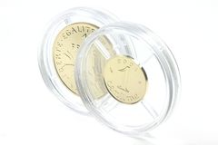 1 franka i 1 centyma złociste monety Obraz Stock
