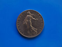 1 franka moneta, Francja nad błękitem Obraz Stock