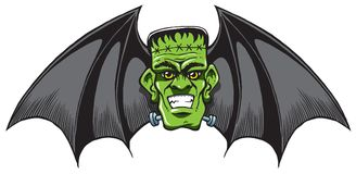 Franked-Bat with halloween wings on a scary head Royalty Free Stock Photo