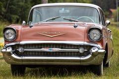Franken, Alemania, el 21 de junio de 2015: Detalle delantero de un vint de Chevrolet Imagenes de archivo