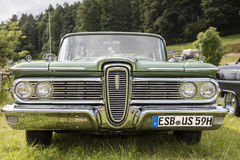 Franken, Germany, 18 June 2016: Front detail of a US vintage car Royalty Free Stock Photography