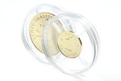 1 Franken und 1 CentimeGoldmünzen Stockbild