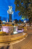 Frankenmuth fountain. European-style fountain celebrates Frankenmuth's 50-year partnership with German sister city Gunzenhausen stock images