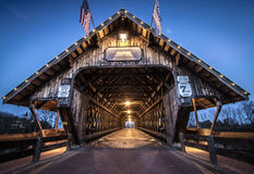 Frankenmuth Michigan Covered Bridge. Covered bridge in the town of Frankemuth, Michigan. The local landmark spans the Cass River in the tourist town of stock photo