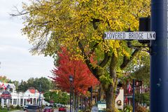 Downtown Frankenmuth Autumn Street Scene. Frankenmuth, Michigan, USA - October 9, 2018: View of the downtown tourist district of Frankenmuth Michigan stock photo