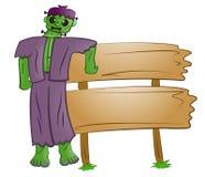 Frankenstein assustador com desenhos animados da placa do sinal ilustração do vetor