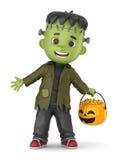 Frankenstein Boy. 3D render of a boy wearing Halloween Frankenstein costume Stock Photography