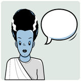 Frankenstein bride and speech bubble Royalty Free Stock Images