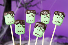 Frankenstein cake pops royalty free stock photo