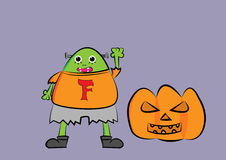 Frankenstein cartoon illustration with pumpkin Royalty Free Stock Images