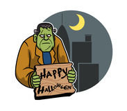 Frankenstein And City Background. A vector illustration for Halloween day theme Royalty Free Stock Photos