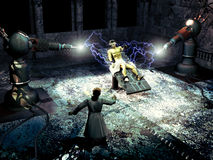 Frankenstein creating the monster. Interior of a castle, at night. The doctor Frankenstein observes how powerful rays, passing through the machines that he has vector illustration