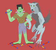 Frankenstein e o homem-lobo. ilustração do vetor