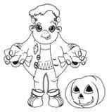 Frankenstein feliz colorindo e sua abóbora ilustração do vetor