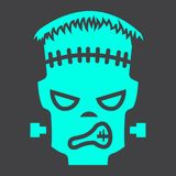 Frankenstein glyph icon, halloween and scary. Horror sign vector graphics, a solid pattern on a black background, eps 10 Stock Photography