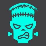 Frankenstein glyph pictogram, Halloween en eng vector illustratie