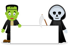 Frankenstein & Grim Reaper Blank Banner Stock Photos