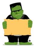 Frankenstein Halloween avec le signe illustration libre de droits
