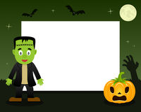 Frankenstein Halloween Horizontal Frame. A Happy Halloween horizontal photo frame with a cute Frankenstein character in a green night scene background with the stock illustration