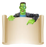 Frankenstein Halloween Sign Scroll Stock Images