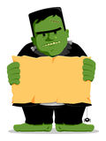 Frankenstein Halloween with Sign. A spooky halloween illustration of Frankenstein with a sign Royalty Free Stock Image