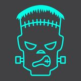 Frankenstein line icon, halloween and scary. Horror sign vector graphics, a linear pattern on a black background, eps 10 Royalty Free Stock Image