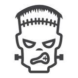 Frankenstein linii ikona, Halloween i straszny, Obraz Stock
