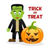 Frankenstein & lycklig allhelgonaafton för pumpa Royaltyfria Bilder