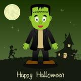 Frankenstein lyckligt allhelgonaaftonkort Royaltyfria Bilder