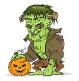 Frankenstein monster. With Halloween pumpkin Royalty Free Stock Images