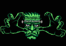 Frankenstein. Monster, black background is easy to replace with another colour Royalty Free Stock Photo