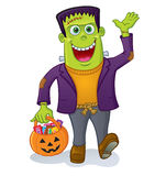 Frankenstein Monster Carrying Pumpkin Pail Royalty Free Stock Image