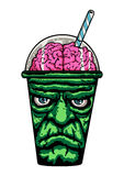 Frankenstein. Monster Cup with brain Royalty Free Stock Image