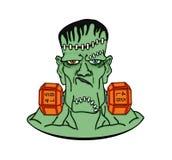 Frankenstein nelle teste di legno Fotografie Stock Libere da Diritti