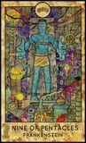 Frankenstein. Nine of pentacles. Fantasy Creatures Tarot full deck. Minor arcana. Hand drawn graphic illustration, engraved colorful painting with occult Royalty Free Stock Image