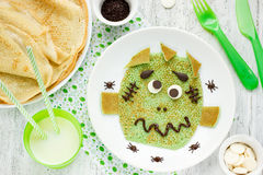 Frankenstein pancakes for kids breakfast Royalty Free Stock Photo