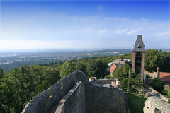 Frankenstein's castle. View from the tower of castle Frankenstein, which gave the title to Mary Shelley's novel and inspired her Stock Images