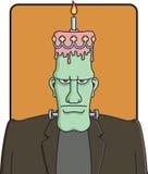 Frankenstein's First Birthday. Illustration of the Frankenstein monster with a birthday cake on his head Stock Photos