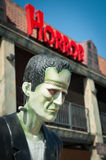 Frankenstein's Monster. Mannequin with horror sign above its head Royalty Free Stock Image