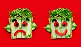 Frankenstein sandwiches for kids. Isolated on red background stock photo