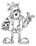 Frankenstein skissar gigantiskt grovt royaltyfri illustrationer