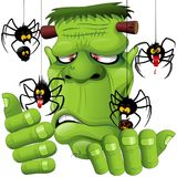 Frankenstein Spiders Pets Cartoon. Fun and Ugly Frankenstein Portrait Cartoon playing with some Spiders Pets. Original Vector Graphic Art Halloween Illustration Royalty Free Stock Photo