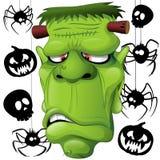 Frankenstein, Spiders, Skulls and Pumpkins. Frankenstein ugly portrait with Pumpkins, Spiders and Skull Black Doodles on Background. Original Vector Graphic Art Stock Photos