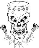 Frankenstein style skull vector illustration Royalty Free Stock Photo