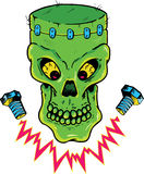 Frankenstein style skull vector illustration stock image